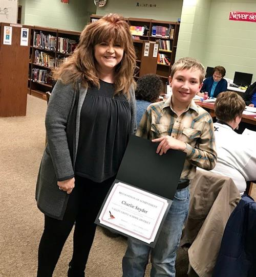 Charlie Snyder, 4th grade student at Valley Grove Elementary School