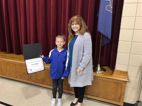 Anna Rodgers, third grade student at Valley Grove Elementary School